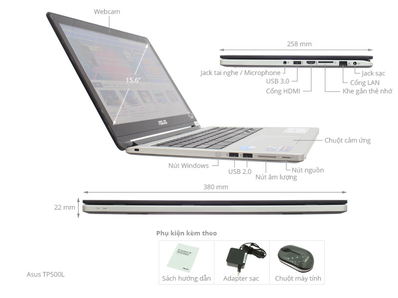 Thông số kỹ thuật Asus TP500LA i5 5200U/4G/1TB/Win8.1