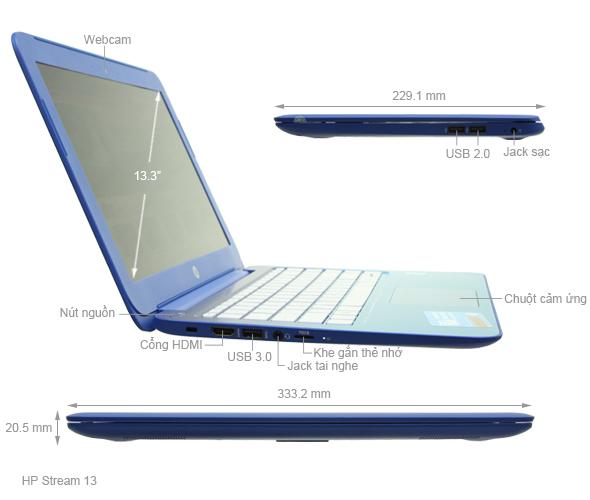 Thông số kỹ thuật HP Stream 13 N2840/2GB/32GB/Win8.1/Xanh