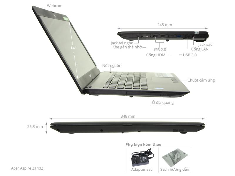Thông số kỹ thuật Laptop Acer Aspire Z1402 52KX i5 5200U/4GB/500GB/Win10