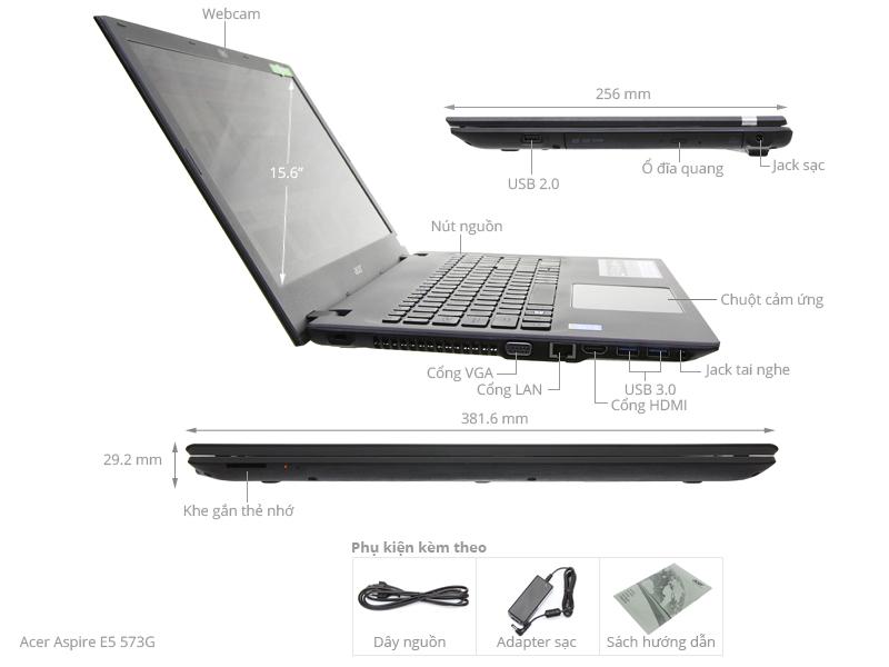 Thông số kỹ thuật Laptop Acer E5 573G i7 4510U/4GB/500GB/VGA2GB/Win10
