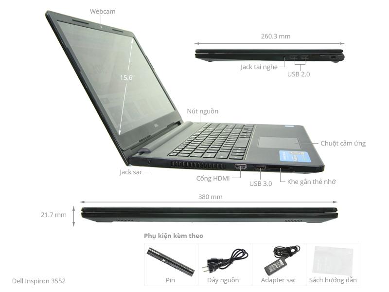 Thông số kỹ thuật Laptop Dell Inspiron 3552 N3050/2GB/500GB/Win10