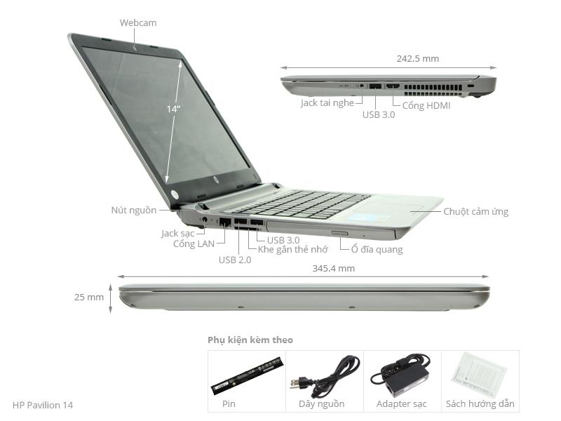 Thông số kỹ thuật Laptop HP Pavilion 14 ab117TU i3 6100U/4GB/500GB/Win10