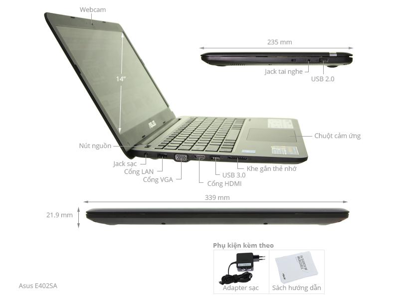 Thông số kỹ thuật Laptop Asus E402SA N3050/2GB/500GB/Win10