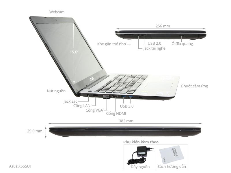 Thông số kỹ thuật Laptop Asus X555UJ i5 6200U/4GB/500GB/2GB 920M/Win10