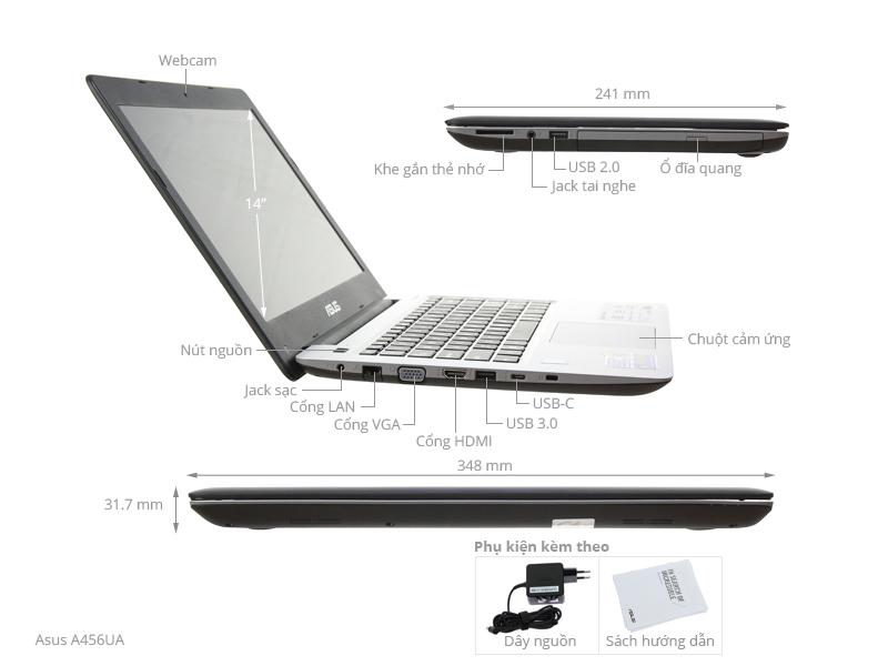 Thông số kỹ thuật Laptop Asus A456UA i5 6200U/4GB/500GB/Win10