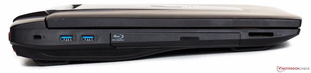Từ trái qua lần lượt: 2 USB 3.0, ổ đĩa Blu-ray, khe đọc thẻ nhớ