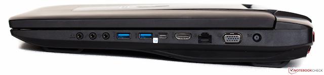 Hông phải lần lượt là: 3 cổng âm thanh, 2 USB 3.0, Thunderbolt, HDMI, LAN, VGA và cổng nguồn