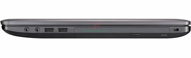 Cạnh phải của máy chứa ổ đĩa quang, jack tai nghe, micro và cổng USB 3.0
