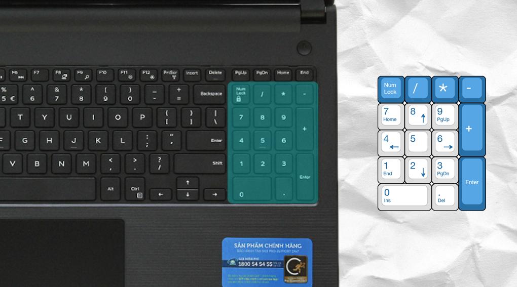 Trang bị cụm bàn phím số tiện ích