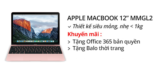 Laptop Apple Macbook 12 inches MMGL2 Core M 1.1G/8GB/256GB/MacOS (2016)