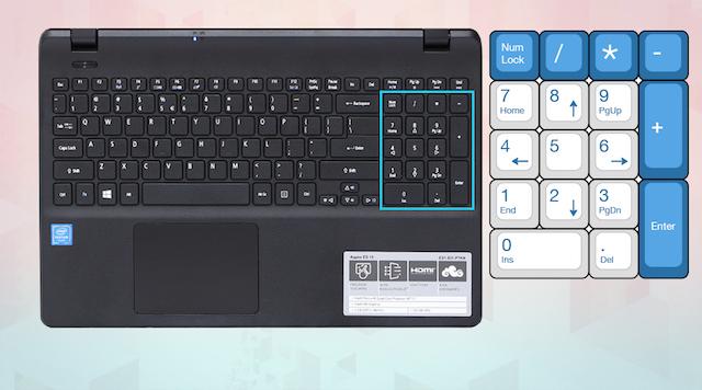 Acer ES1 531 N3710 - Bàn phím số riêng biệt