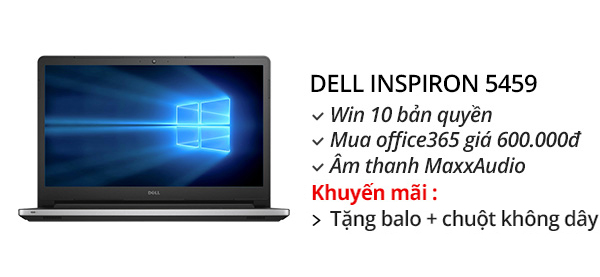 Laptop Dell Inspiron 5459 i3 6100U/4GB/1TB/Win10