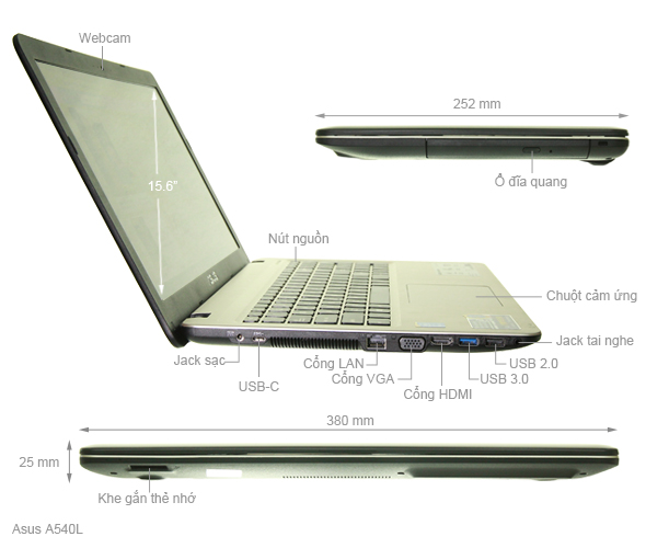 ASUS A540LA: Core i3 5005u/4G/500G, màn 15.6in Full HD, còn BH 3th !!! - 2