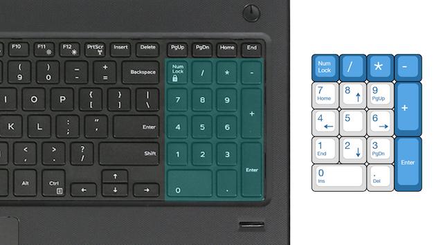 Dell Vostro 3568 i5 7200U - Bàn phím đầy đủ cụm phím số