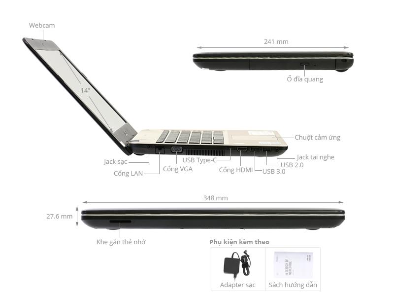 ASUS X441UR: Core i3 7100u/4G/500G/14in, 2VGA 2G GF930MX, còn BH 5th ! - 3
