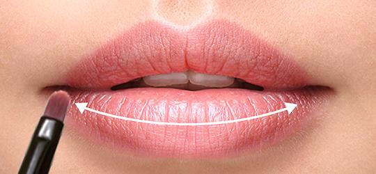 Dùng cọ môi lấy một lượng son vừa đủ thoa đều son lên môi rồi nhẹ nhàng bậm môi lại để son được đều hơn.  Mẹo: Dưỡng ẩm môi sau đó thoa một lớp kem che khuyết điểm lên để màu lên chuẩn hơn.