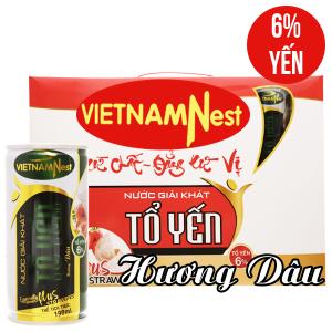 Hộp 5 lon nước yến Việt Nam Nest hương dâu 190ml