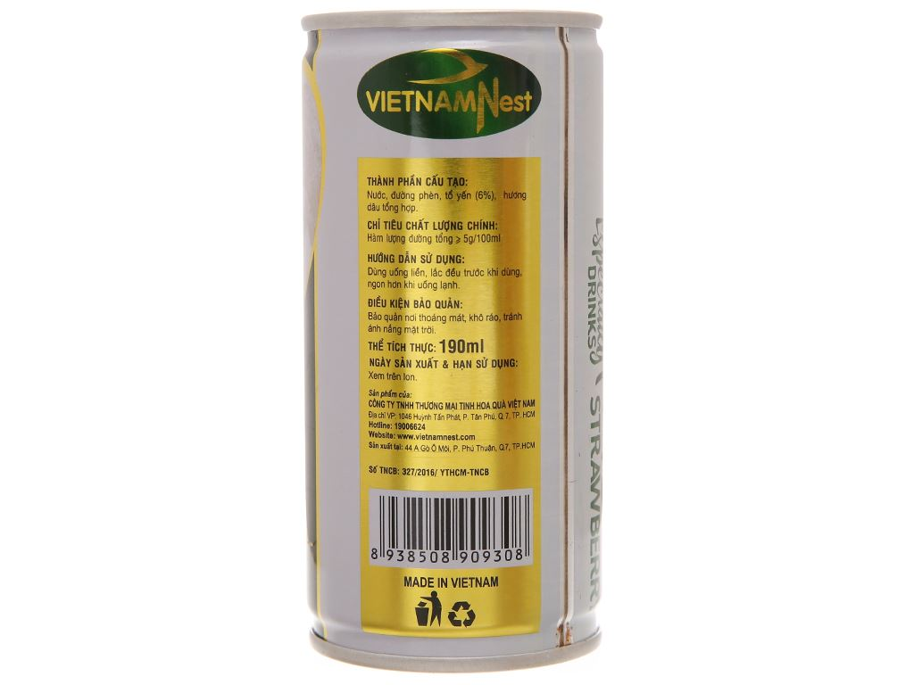 Hộp 5 lon nước yến Việt Nam Nest hương dâu 190ml 5