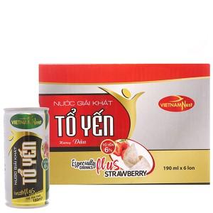 Lốc 6 lon nước yến Việt Nam Nest hương dâu lốc 190ml