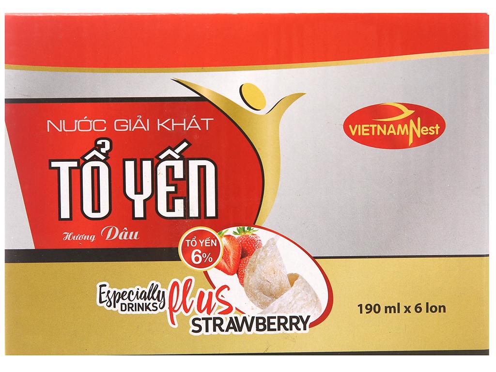 Lốc 6 lon nước yến Việt Nam Nest hương dâu lốc 190ml 1
