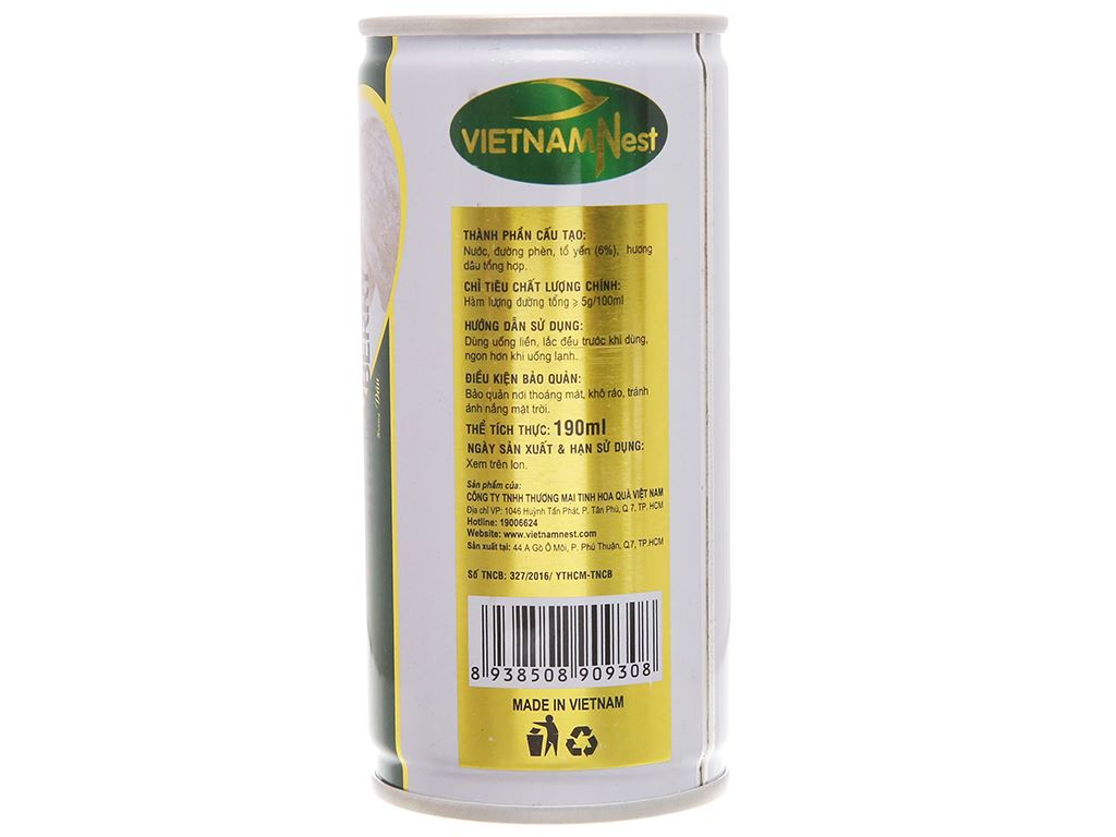 Lốc 6 lon nước yến Việt Nam Nest hương dâu lốc 190ml 3
