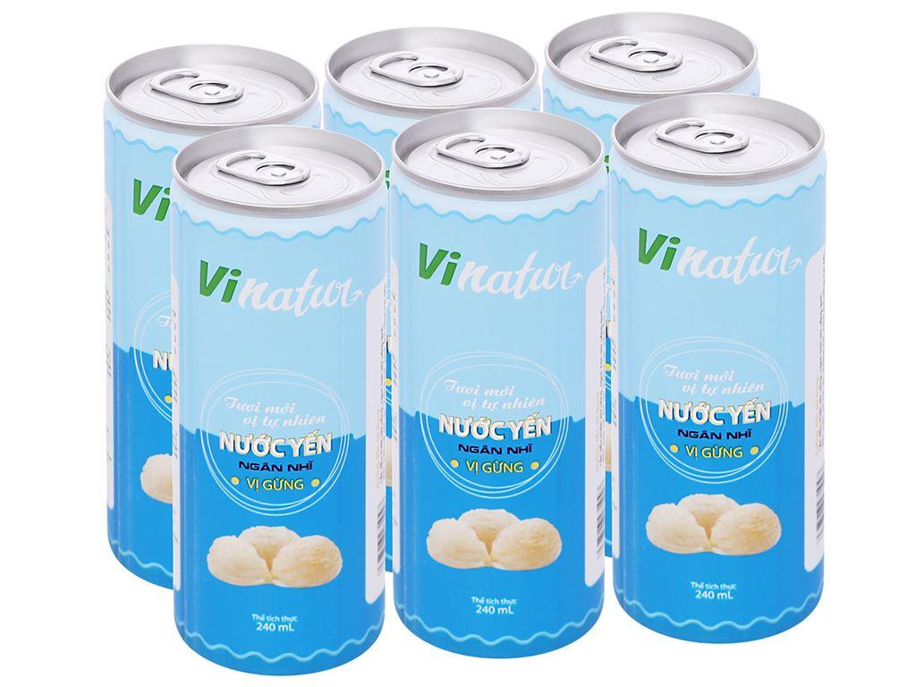 Lốc 6 lon nước yến ngân nhĩ Vinatur vị gừng 240ml 1