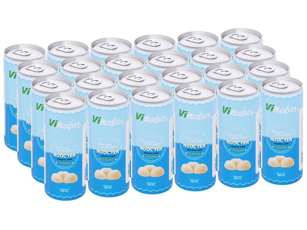 Thùng 24 lon nước yến ngân nhĩ Vinatur vị gừng 240ml 1