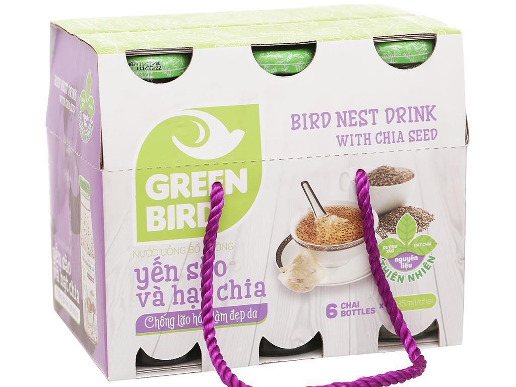 6 chai nước yến sào hạt chia Green Bird 185ml 1