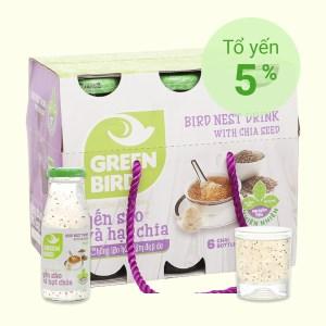 6 chai nước yến sào hạt chia Green Bird 185ml