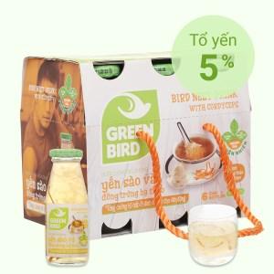 6 chai nước yến sào đông trùng hạ thảo Green Bird 185ml