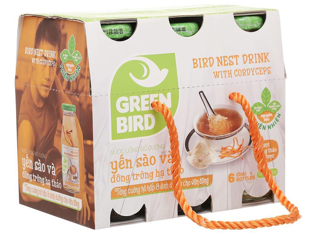Thùng 48 chai nước yến sào đông trùng hạ thảo Green Bird 185ml 2