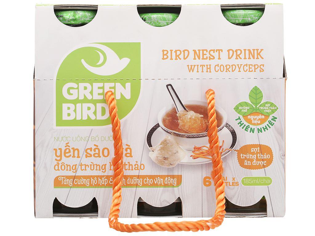 Thùng 48 chai nước yến sào đông trùng hạ thảo Green Bird 185ml 3