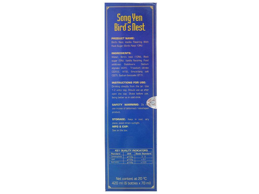 Hộp 6 hũ nước yến đường phèn Song Yến hương vanilla 70ml 12