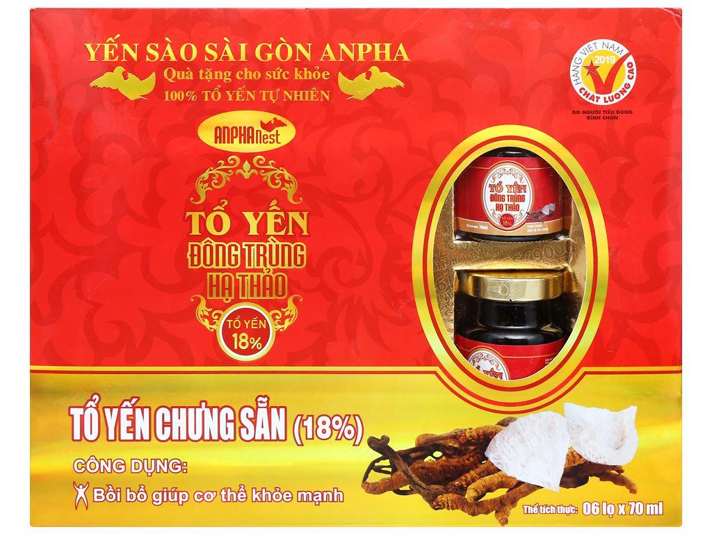 Hộp 6 hũ tổ yến chưng đông trùng hạ thảo Sài Gòn Anpha 70ml 1