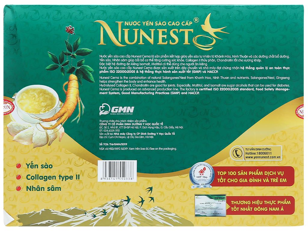 Hộp 6 hũ nước yến sào Nunest Cerna 420ml 3