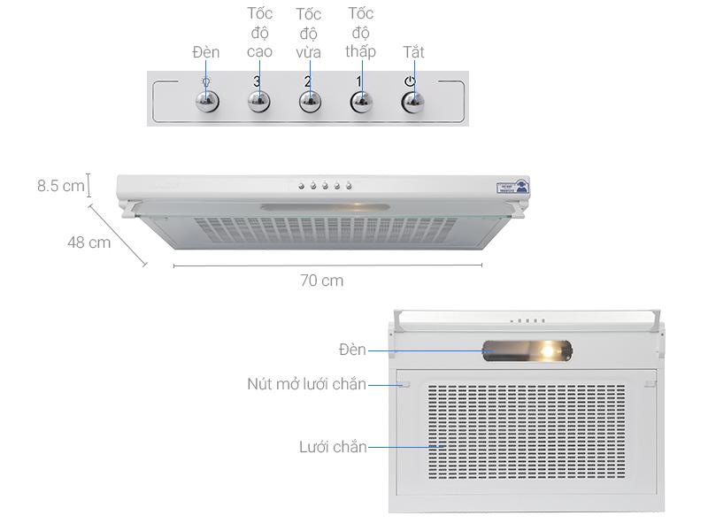 Thông số kỹ thuật Máy hút mùi Malloca H107W
