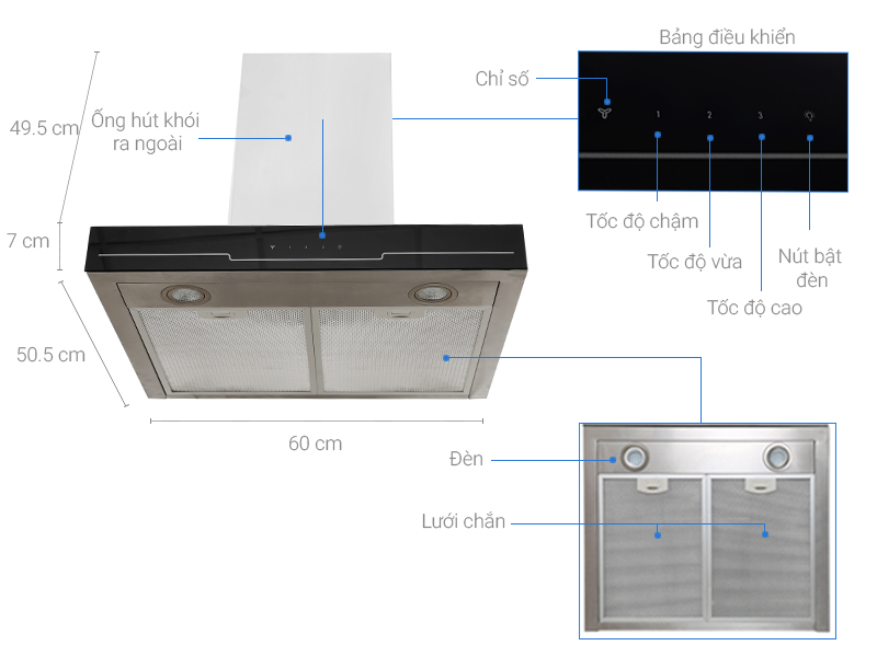 Thông số kỹ thuật Máy hút mùi Electrolux EFC635SAR