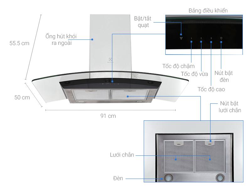 Thông số kỹ thuật Máy hút mùi áp tường Electrolux EFC936GAR