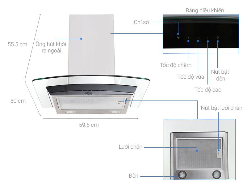 Thông số kỹ thuật Máy hút mùi áp tường Electrolux EFC636GAR