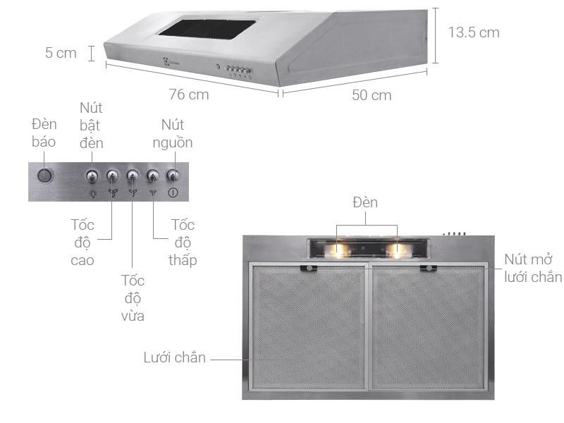 Thông số kỹ thuật Máy hút mùi âm tủ Electrolux EFT7516X