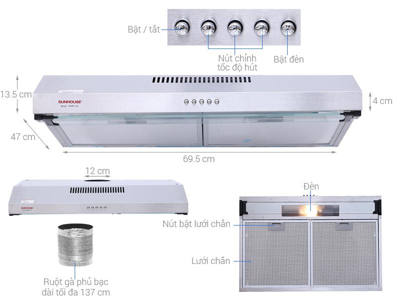 Thông số kỹ thuật Máy hút mùi âm tủ Sunhouse SHB6118I
