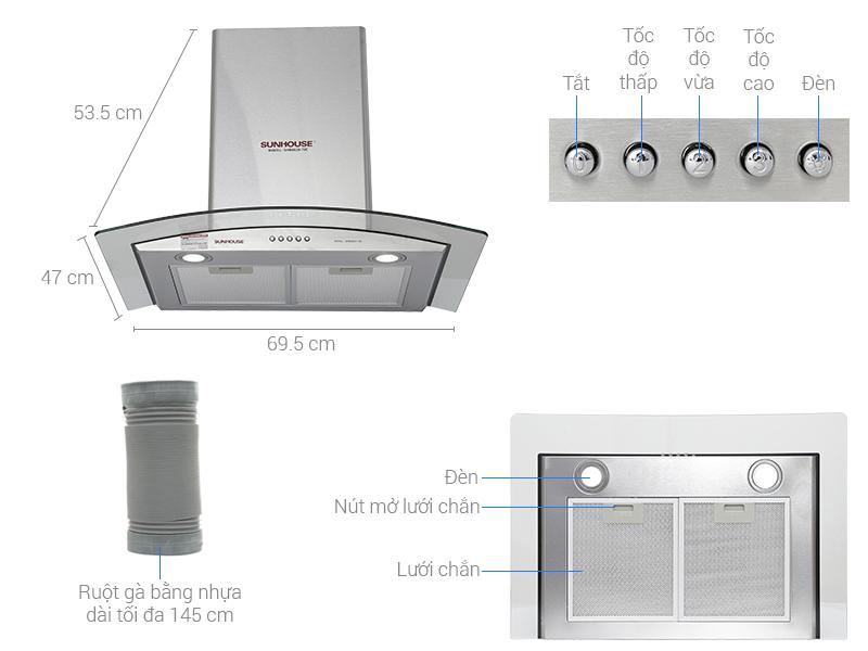 Thông số kỹ thuật Máy hút mùi áp tường Sunhouse SHB6629 70C
