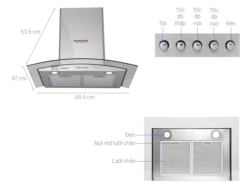 Thông số kỹ thuật Máy hút mùi Sunhouse SHB6629 70C