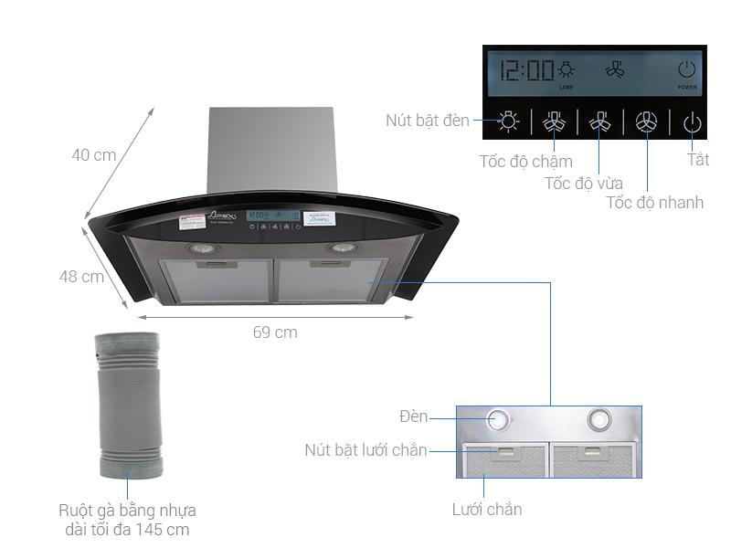 Thông số kỹ thuật Máy hút mùi áp tường Apex APB6680-70C