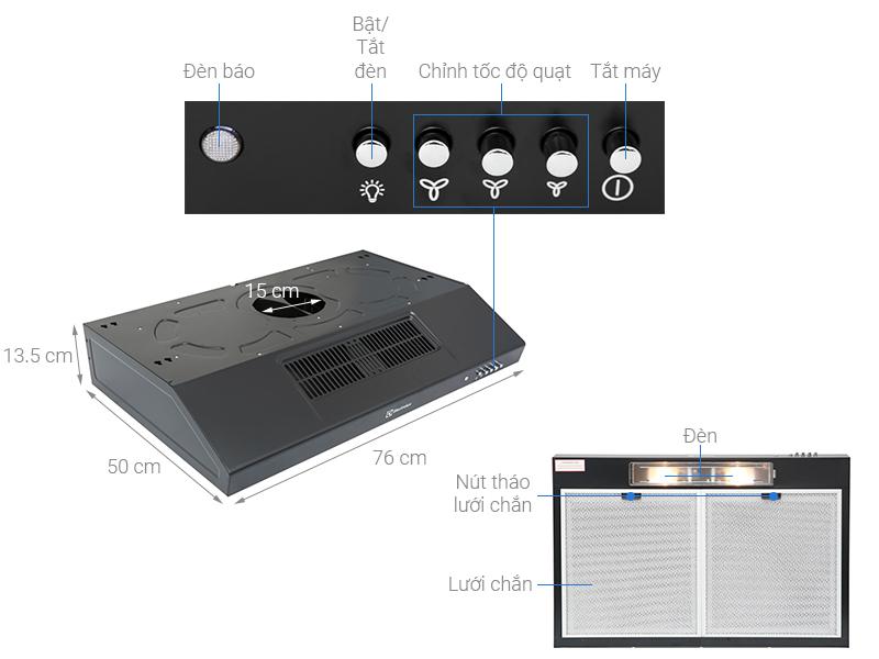 Thông số kỹ thuật Máy hút mùi Electrolux EFT7516K