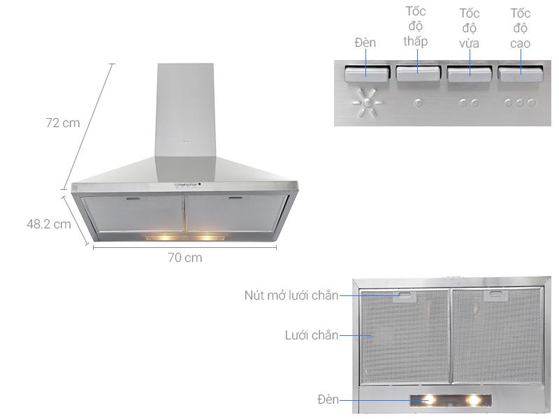 Thông số kỹ thuật Máy hút mùi Teka DBB-70