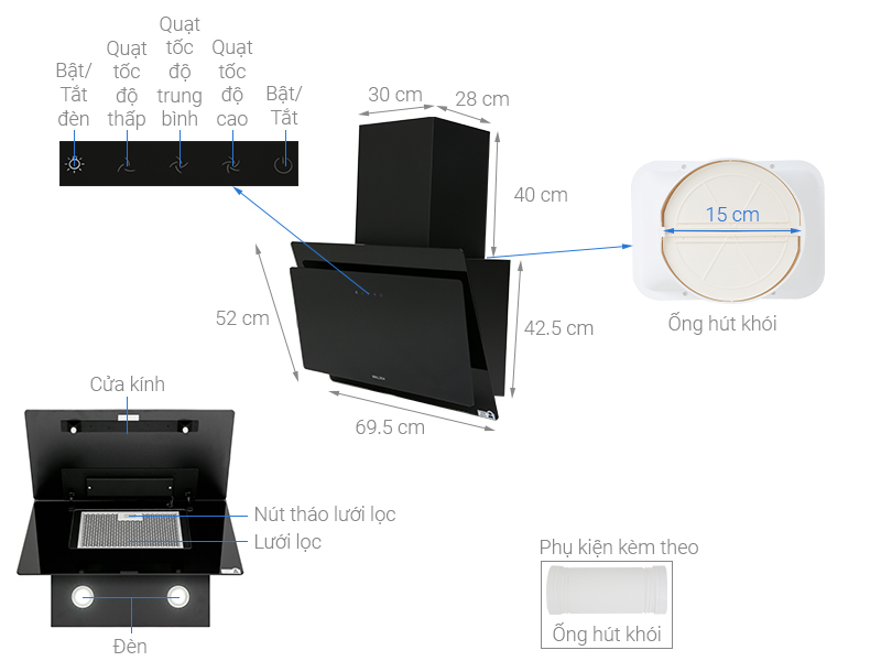 Thông số kỹ thuật Máy hút mùi áp tường Malloca MC7086HS