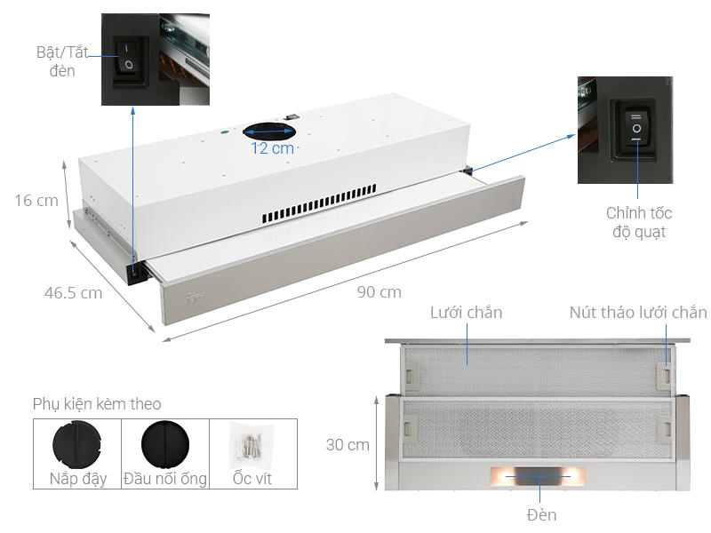 Thông số kỹ thuật Máy hút mùi âm tủ TEKA TLR2 92 SS