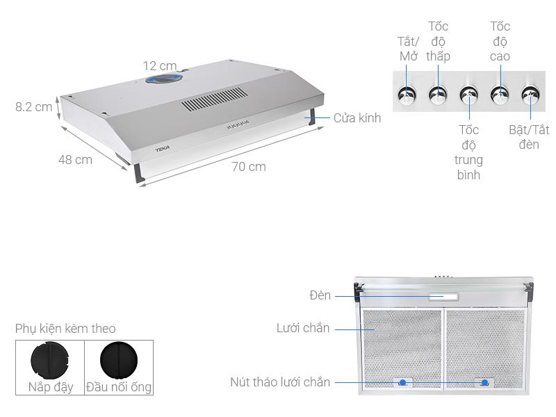 Thông số kỹ thuật Máy hút mùi âm tủ TEKA CH 1070BG