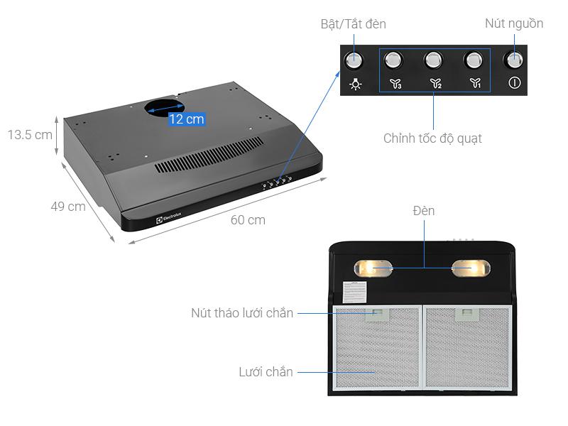 Máy hút mùi âm tủ Electrolux EFT6032K